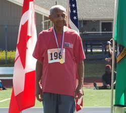 Athlete receiving medal at the Washington State Senior Games